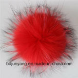 Les cheveux longs chapeau de fourrure de raton laveur réel POM POM POM trousseaux