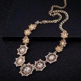 Halsband van de Legering van de Kleur van de Stenen van het Glas van de manier de Gouden met de Juwelen van de Bloem
