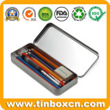 Изготовленный на заказ коробка олова карандаша случая олова канцелярских принадлежностей металла печатание фотоего