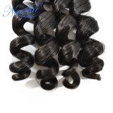 上の販売の安い価格のインドの緩いカール100%の人間の毛髪の束