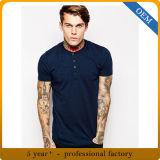 Maglietta blu del collo del Henry del cotone degli uomini di disegno