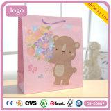 Bolsa de papel revestida del regalo del arte de los niños del oso de Litte