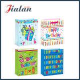 """""""Feliz Cumpleaños"""" Hot Stamping y flores de portador de compras bolsa de papel de regalo"""
