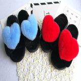 Interior de cor sólida chinelos para mulheres/Personalizado de peles de Inverno Chinelos