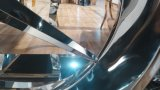 Logo Benz moderne en verre trempé Haut Table à manger en acier inoxydable