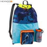 Grand sac de maille de natation de sac à dos de cordon de polyester de vente chaude avec la poche