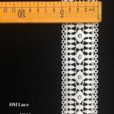 5cmの伸張の幾何学の円のフリンジHmhb1099が付いている白い花のスカラップで仕上げられた伸張のレース