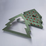 Soem-Belüftung-Fenster-Weihnachtsbaum-Form-Schokoladen-Papier-Geschenk-Verpackungs-Kasten-Süßigkeit-Kasten