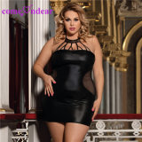 ODMはサイズの黒のセクシーな女性とLeather Dress低いMOQを受け入れる
