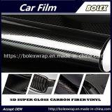 Alquiler de envoltura corporalbrillante negro de fibra de carbono 5D coche cuerpo Vinilo1,52*18m