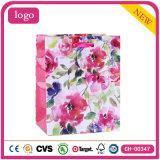 Bolsa de papel de vestir coloreada rosada del regalo de los zapatos del modelo de flores