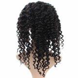 Peluca llena 100% del cordón de la onda profunda del pelo humano de la Virgen con la venda