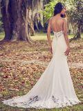 Spitze-Hochzeits-Kleid-Isolationsschlauch-Nixe-einfache Nixe-Brautkleid H196