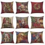 La almohadilla casera popular de la decoración de la venta al por mayor de la Navidad de la materia textil cubre la cubierta de lino del amortiguador
