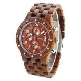 Horloge van het Embleem van de Douane van het Horloge van het Kwarts van de Mensen van de Luxe van het Polshorloge van de manier het Nieuwe Houten