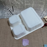Compartimiento disponible biodegradable de la bandeja del papel tres de los productos de la maicena