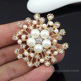 Encantador imitación Estrás Flor de perlas para la mujer suéter Broches Broches pasador de vestido de boda joyas (BR-08)
