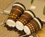 Taza de café doble disponible del papel de empapelar de la insignia de encargo de la impresión con las tapas plásticas para la bebida