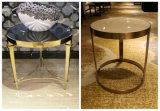 最高のホテルの家具のステンレス鋼の金属の足の石か大理石のコーヒーテーブル(KL C02)