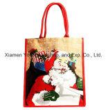 Venda por grosso de madeira impressos personalizados puxador de Cana Hession presente de Natal sacos de juta