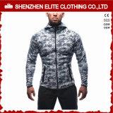 Slim Fit une salle de gym à fermeture éclair étanche Bodybuilding Hoodie vierge pour les hommes (ELTHSJ-1070)