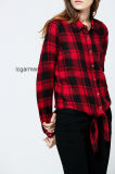 Popular Design Fashion Red Plaid Shirt style décontracté Lady Blouse