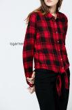 Signora rossa Blouse di stile casuale della camicia di plaid di modo popolare di disegno