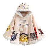 Le manteau doux de femelle d'impression et de cachemire de chat de personnage de dessin animé de vent