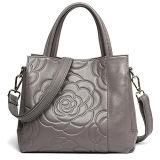 Sacos de ombro de gravação da flor delicada luxuosa do saco de Tote da bolsa da classe elevada do couro para a senhora Emg5113