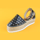 Scarpa di tela nera delle scarpe da tennis della piattaforma del cuneo di Studed per le donne