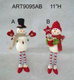 Decoración de Navidad, Santa Snowman Elf Sitter con piernas Strip 3asst