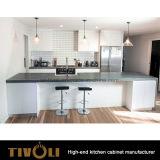 Белый малый шкаф кладовки кухни с открытым островом и черным Quarz Bentch верхним Tivo-0221h