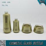 Bouteille en verre à base d'or en verre et pot de verre
