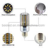 La luz E27 15W del maíz del LED calienta la lámpara de plata blanca del bulbo de la carrocería LED del color