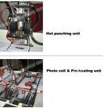 Automático de alta velocidad de plástico dentro del remiendo del pegamento bolso de la manija que hace la máquina