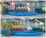 Gigante parque inflable del agua con la piscina y el tobogán