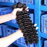 7日間リターンGurantee/ペルーの深い波のねじれた巻き毛の1束のバージンの毛