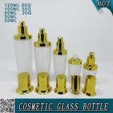 Опарник матированного стекла крышек золота косметический Cream и стеклянная бутылка
