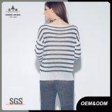 女性のための骨があるニットのばねのしまのあるセーター