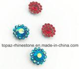 2017 la nueva y de calidad superior configuración 12m m cristalina de la garra de la flor cose en la venda de Strass (azul de cielo de TP-12mm el ab)