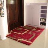 豪華で赤い花デザインPP物質的なTPR基礎床の敷物