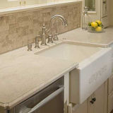 Haut de la vanité de la salle de bain beige blanc Quartz Sparkle