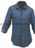 Camicia lunga 100% del manicotto del denim del cotone delle signore Wh1009