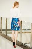 Saia de cintura de cintura média com impressão de flores e borboletas