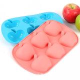 Muffa del silicone di figura del Apple delle 6 cellule per la candela del sapone del ghiaccio