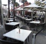 Jeu de table à café Corian blanc en marbre Table Cafe Pierre artificielle cafétéria Table de dîner