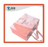 Comercio al por mayor de laminación brillante rosa Compras bolsas de papel con cinta
