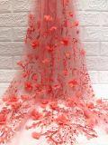 Handgemachte schwere wulstige Hochzeits-Brautkleid-Spitze-Gewebe Qualitäts-französische Tulle-3D
