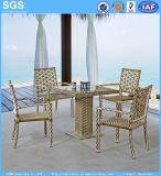 Jardim Definir cadeiras de vime conjunto jantar ao ar livre e a tabela