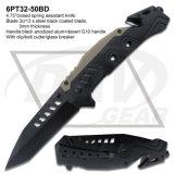 """4.5 """"ばね補助レーザーの刃のみょうばんのハンドルのレスキューポケット・ナイフ: 6PT33-45bd"""